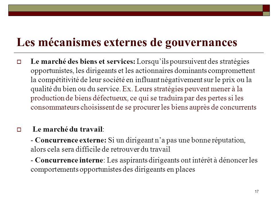 Les mécanismes externes de gouvernances Le marché des biens et services: Lorsquils poursuivent des stratégies opportunistes, les dirigeants et les act