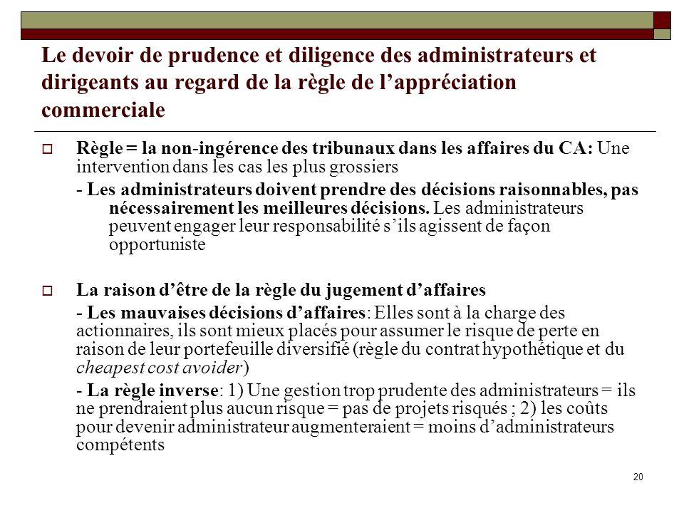 Le devoir de prudence et diligence des administrateurs et dirigeants au regard de la règle de lappréciation commerciale Règle = la non-ingérence des t