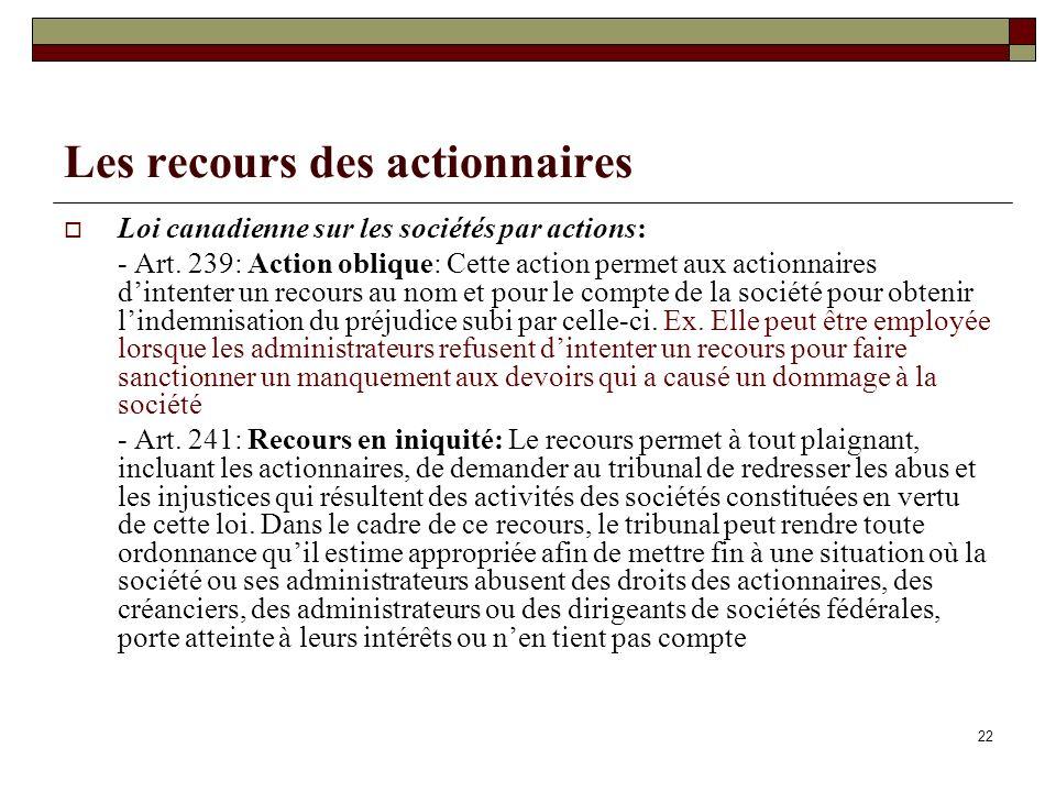 Les recours des actionnaires Loi canadienne sur les sociétés par actions: - Art. 239: Action oblique: Cette action permet aux actionnaires dintenter u