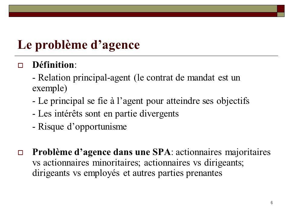 6 Le problème dagence Définition: - Relation principal-agent (le contrat de mandat est un exemple) - Le principal se fie à lagent pour atteindre ses o