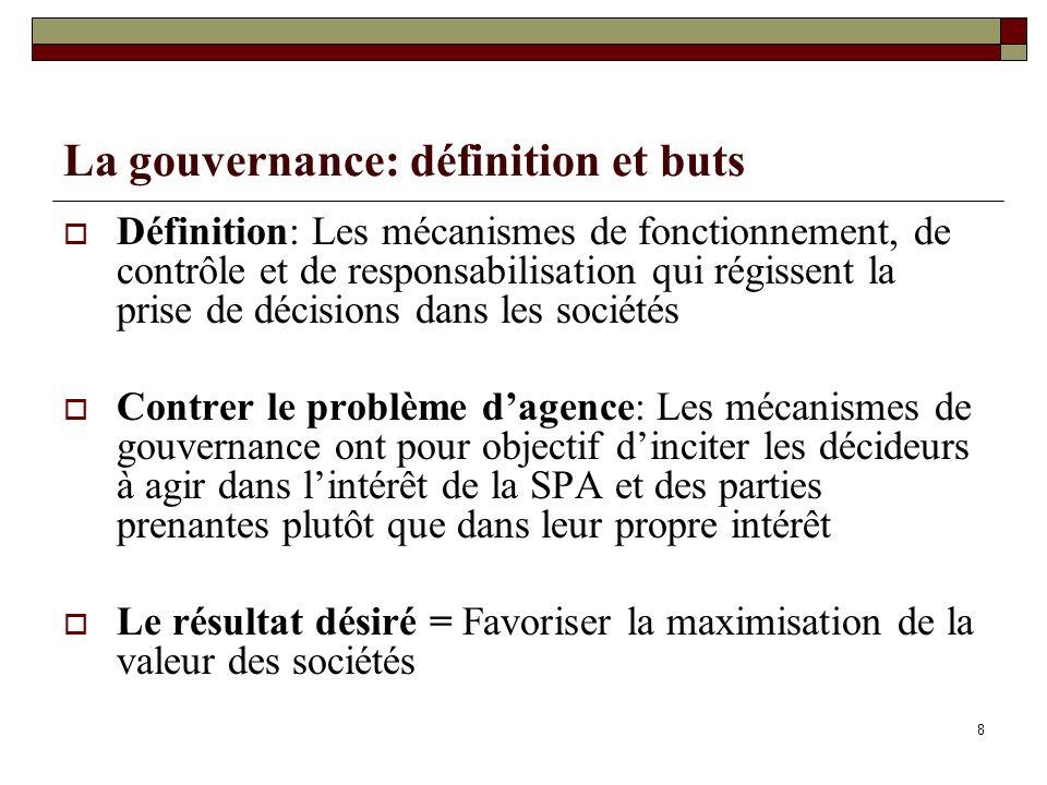 8 La gouvernance: définition et buts Définition: Les mécanismes de fonctionnement, de contrôle et de responsabilisation qui régissent la prise de déci