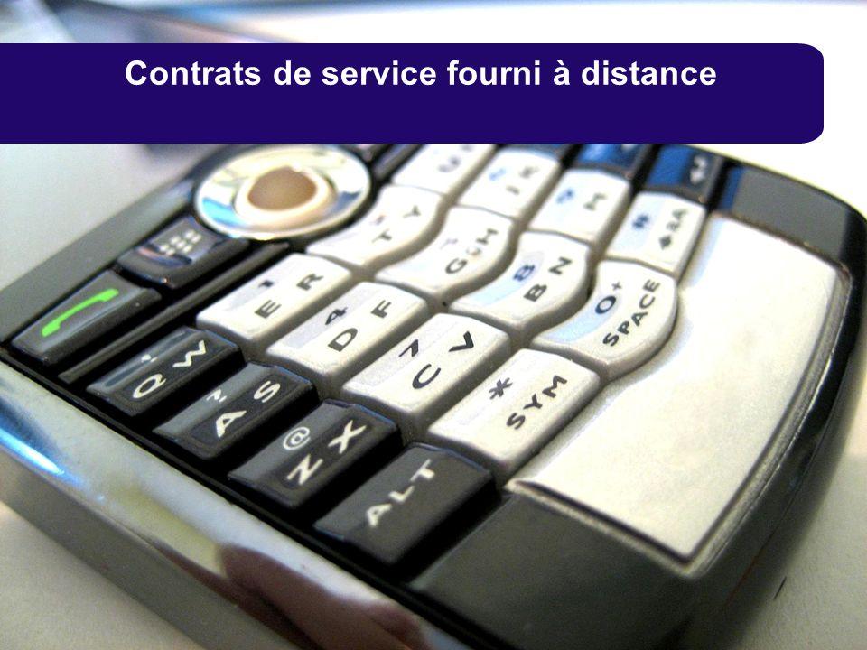 Contrats de service fourni à distance