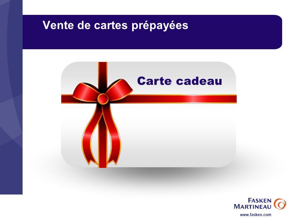 Vente de cartes prépayées Carte cadeau