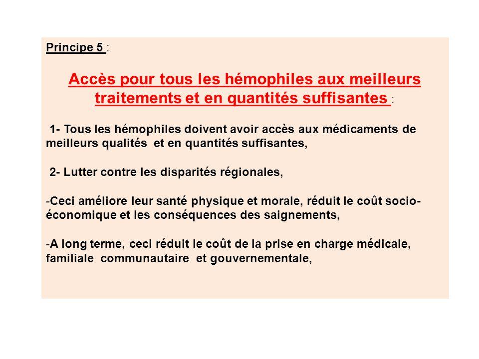 Principe 5 : Accès pour tous les hémophiles aux meilleurs traitements et en quantités suffisantes : 1- Tous les hémophiles doivent avoir accès aux méd