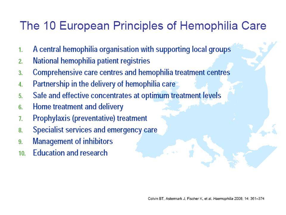 Objectifs de lEuropean Principles of Haemophilia Care - A partir des prises en charge actuelles des hémophiles en Europe, - Revue bibliographique systématique actualisée, Les 10 Objectifs ne sont pas -Les objectifs atteints sont à optimiser, les autres sont à atteindre… -Encourager la prise en charge suboptimale là où elle existe,