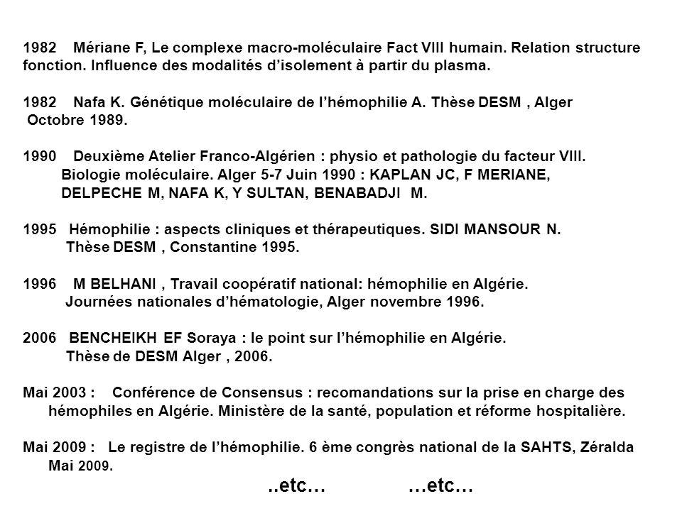1982 Mériane F, Le complexe macro-moléculaire Fact VIII humain. Relation structure fonction. Influence des modalités disolement à partir du plasma. 19
