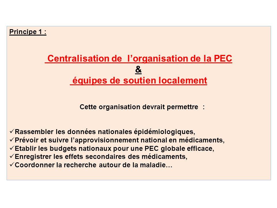 Principe 1 : Centralisation de lorganisation de la PEC & équipes de soutien localement Cette organisation devrait permettre : Rassembler les données n