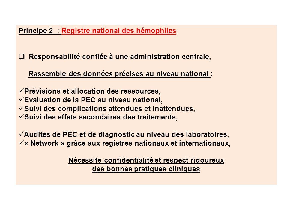 Principe 2 : Registre national des hémophiles Responsabilité confiée à une administration centrale, Rassemble des données précises au niveau national