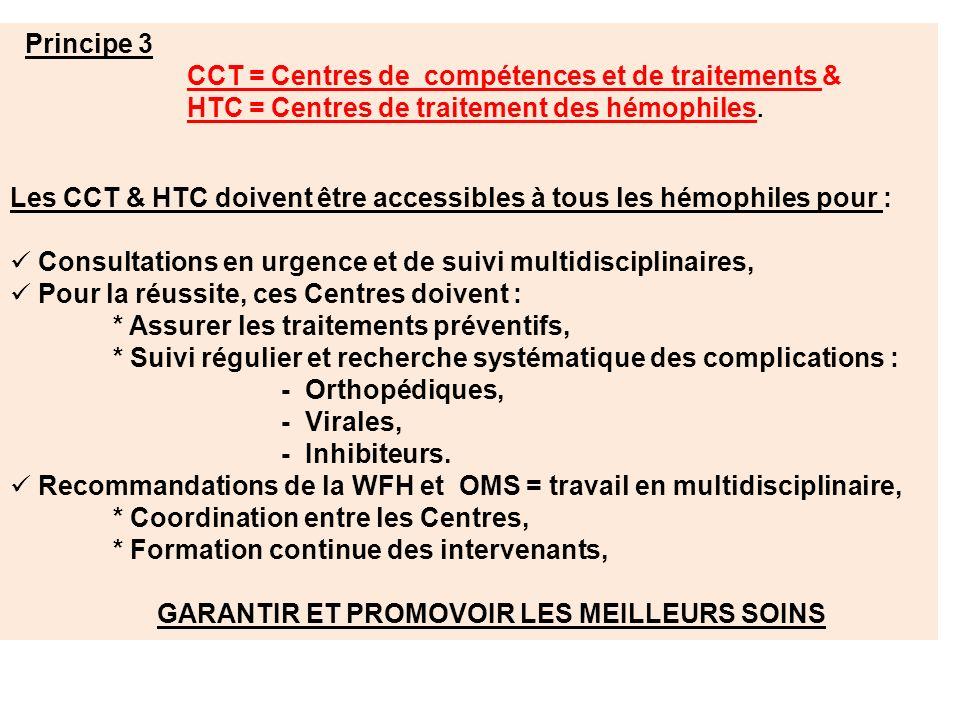 Principe 3 CCT = Centres de compétences et de traitements & HTC = Centres de traitement des hémophiles. Les CCT & HTC doivent être accessibles à tous