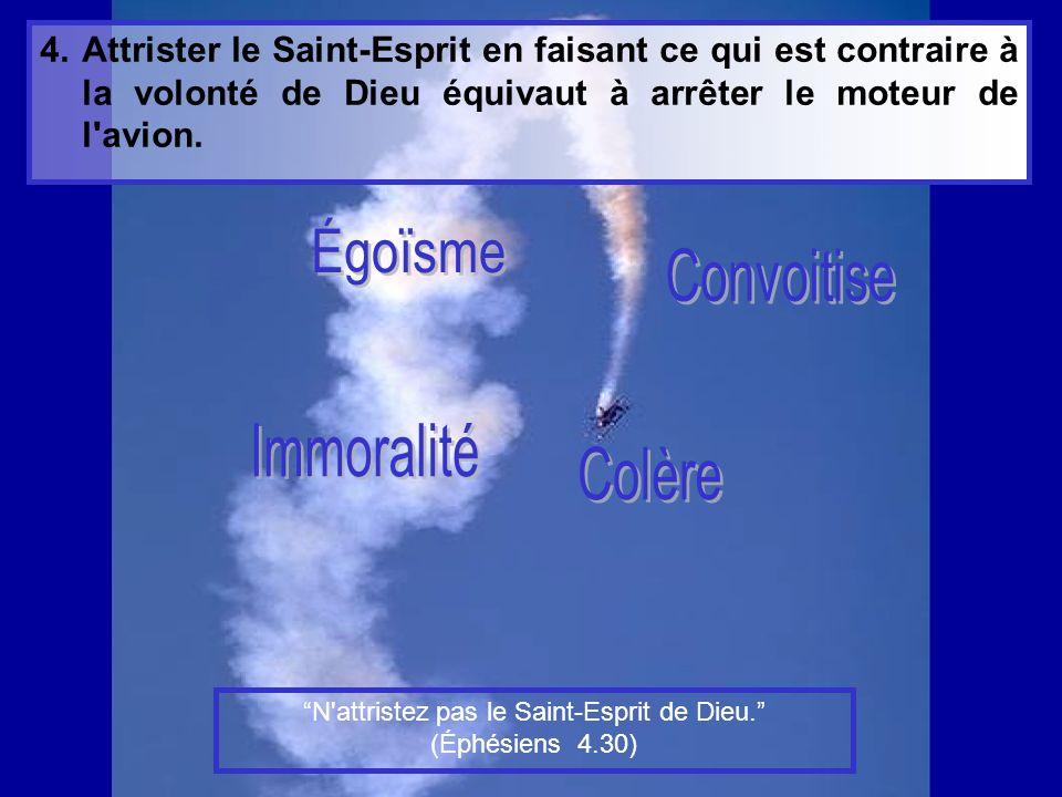 4.Attrister le Saint-Esprit en faisant ce qui est contraire à la volonté de Dieu équivaut à arrêter le moteur de l avion.