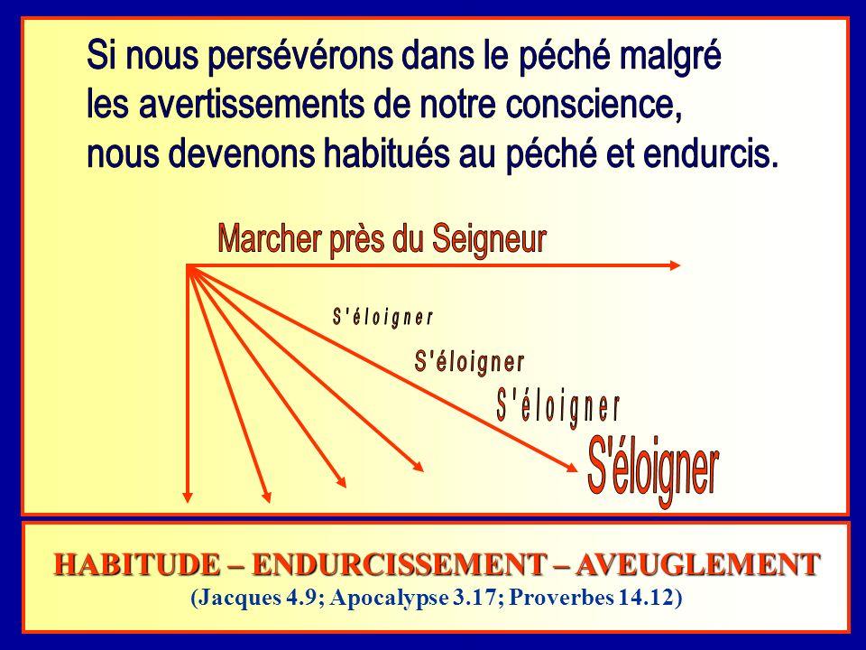 HABITUDE – ENDURCISSEMENT – AVEUGLEMENT (Jacques 4.9; Apocalypse 3.17; Proverbes 14.12)