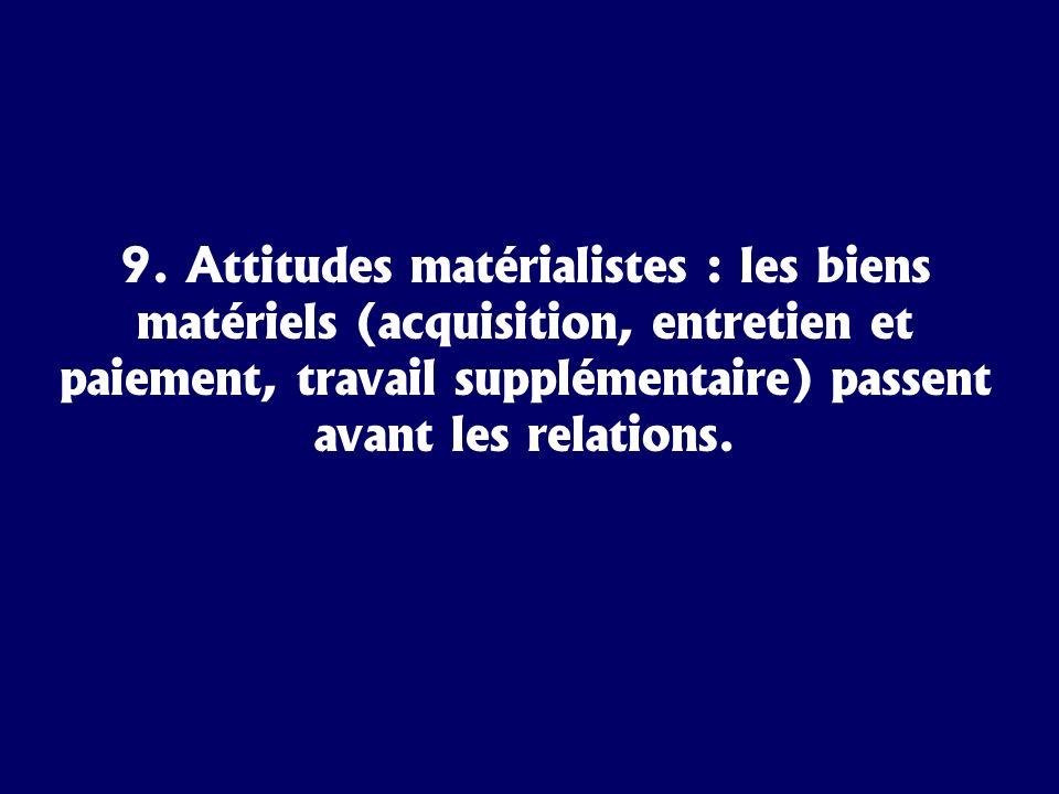 9. Attitudes matérialistes : les biens matériels (acquisition, entretien et paiement, travail supplémentaire) passent avant les relations.