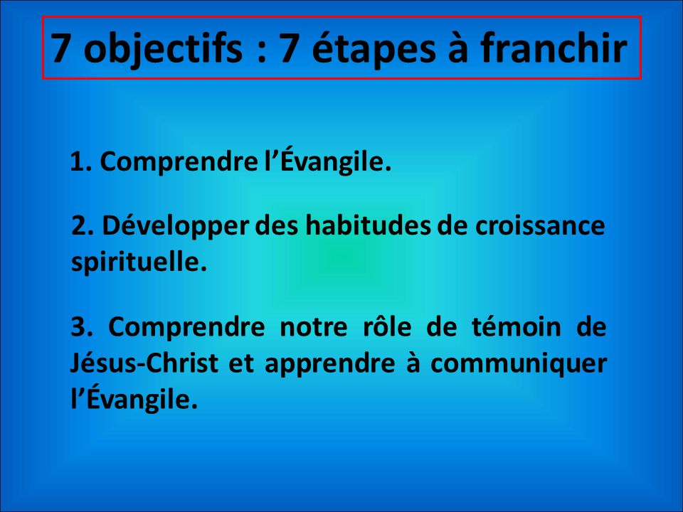 7 objectifs : 7 étapes à franchir 1. Comprendre lÉvangile. 2. Développer des habitudes de croissance spirituelle. 3. Comprendre notre rôle de témoin d