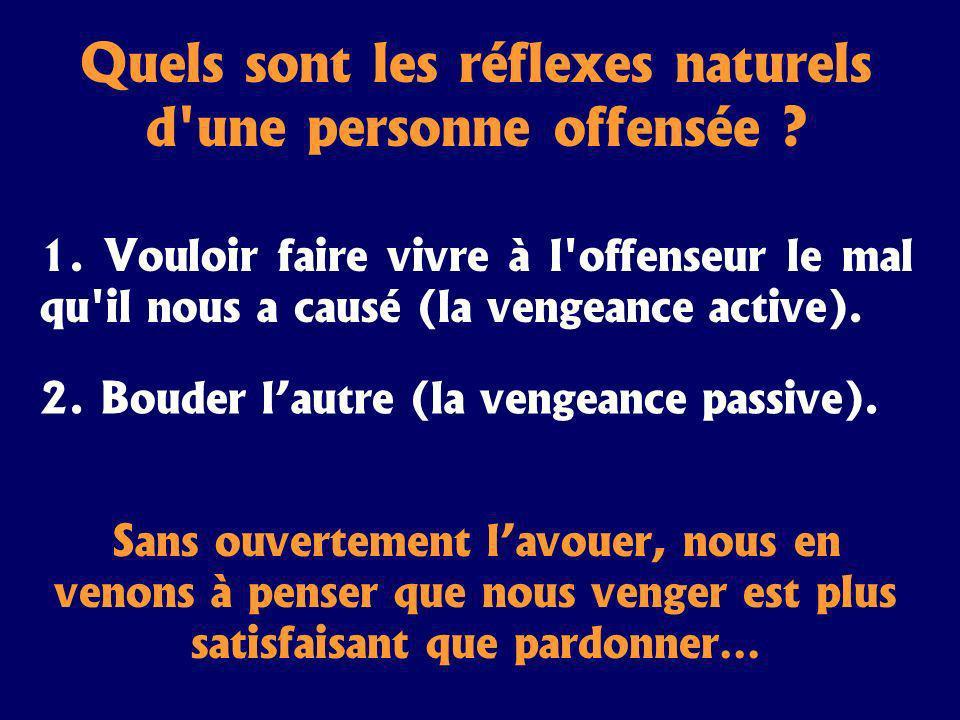 Quels sont les réflexes naturels d'une personne offensée ? 1. Vouloir faire vivre à l'offenseur le mal qu'il nous a causé (la vengeance active). 2. Bo