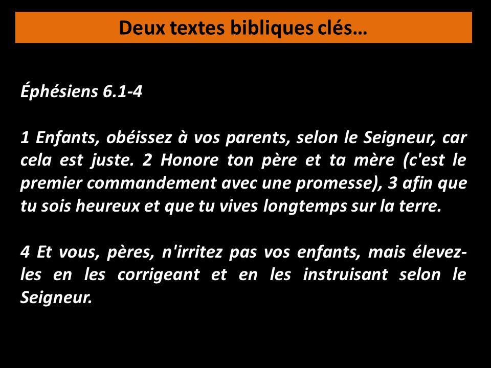 Deux textes bibliques clés… Éphésiens 6.1-4 1 Enfants, obéissez à vos parents, selon le Seigneur, car cela est juste. 2 Honore ton père et ta mère (c'