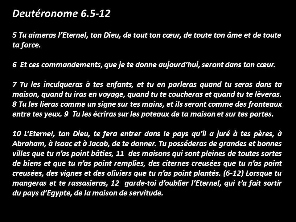 Deutéronome 6.5-12 5 Tu aimeras lEternel, ton Dieu, de tout ton cœur, de toute ton âme et de toute ta force. 6 Et ces commandements, que je te donne a