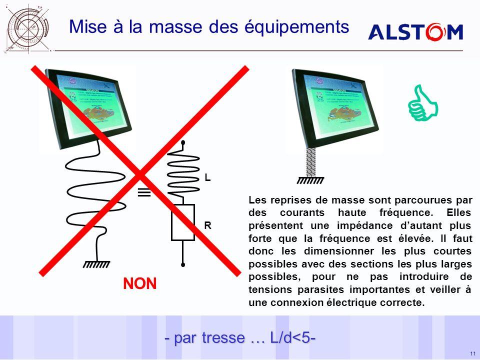11 Mise à la masse des équipements - par tresse … L/d<5- L R NON Les reprises de masse sont parcourues par des courants haute fréquence.