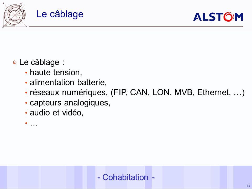 13 Le câblage Le câblage : haute tension, alimentation batterie, réseaux numériques, (FIP, CAN, LON, MVB, Ethernet, …) capteurs analogiques, audio et vidéo, … - Cohabitation -