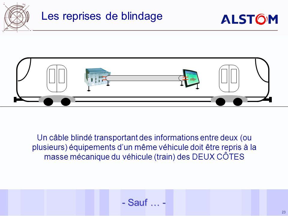 23 Les reprises de blindage - Sauf … - Un câble blindé transportant des informations entre deux (ou plusieurs) équipements dun même véhicule doit être repris à la masse mécanique du véhicule (train) des DEUX CÔTES