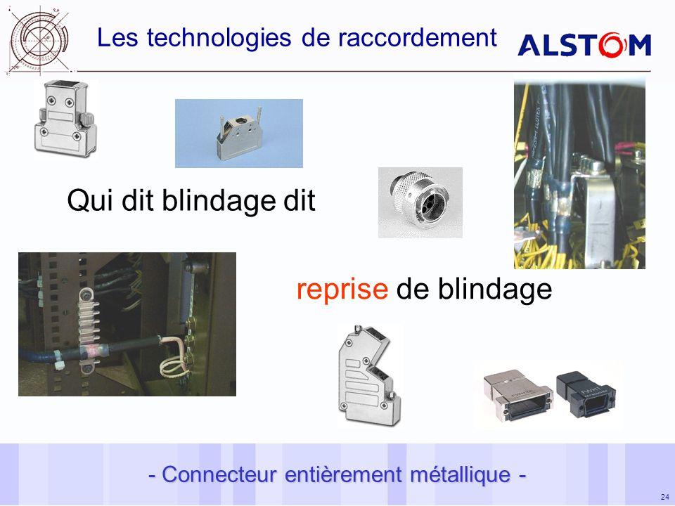 24 Les technologies de raccordement Qui dit blindage dit reprise de blindage - Connecteur entièrement métallique -