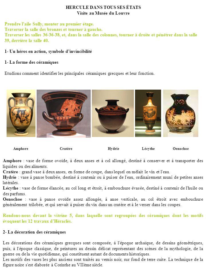 HERCULE DANS TOUS SES ÉTATS Visite au Musée du Louvre Prendre laile Sully, monter au premier étage. Traverser la salle des bronzes et tourner à gauche