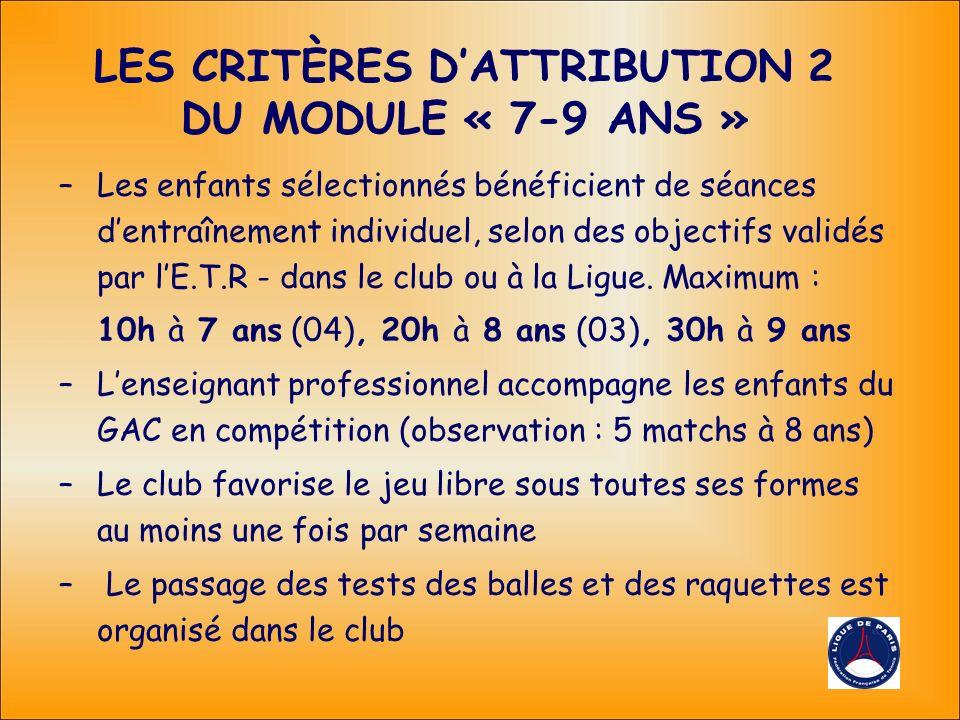 LES CRITÈRES DATTRIBUTION 2 DU MODULE « 7-9 ANS » –Les enfants sélectionnés bénéficient de séances dentraînement individuel, selon des objectifs validés par lE.T.R - dans le club ou à la Ligue.