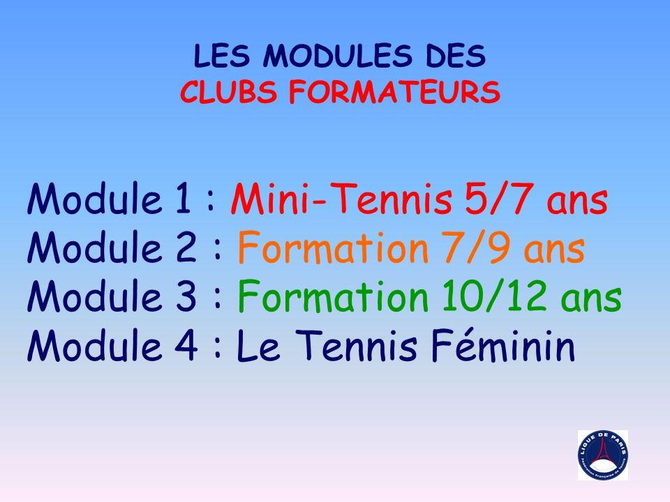 Module 1 : Mini-Tennis 5/7 ans Module 2 : Formation 7/9 ans Module 3 : Formation 10/12 ans Module 4 : Le Tennis Féminin LES MODULES DES CLUBS FORMATEURS