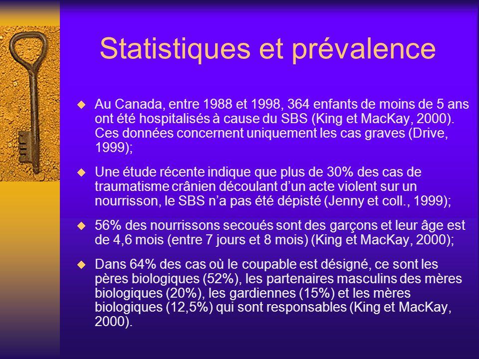 Statistiques et prévalence Au Canada, entre 1988 et 1998, 364 enfants de moins de 5 ans ont été hospitalisés à cause du SBS (King et MacKay, 2000). Ce