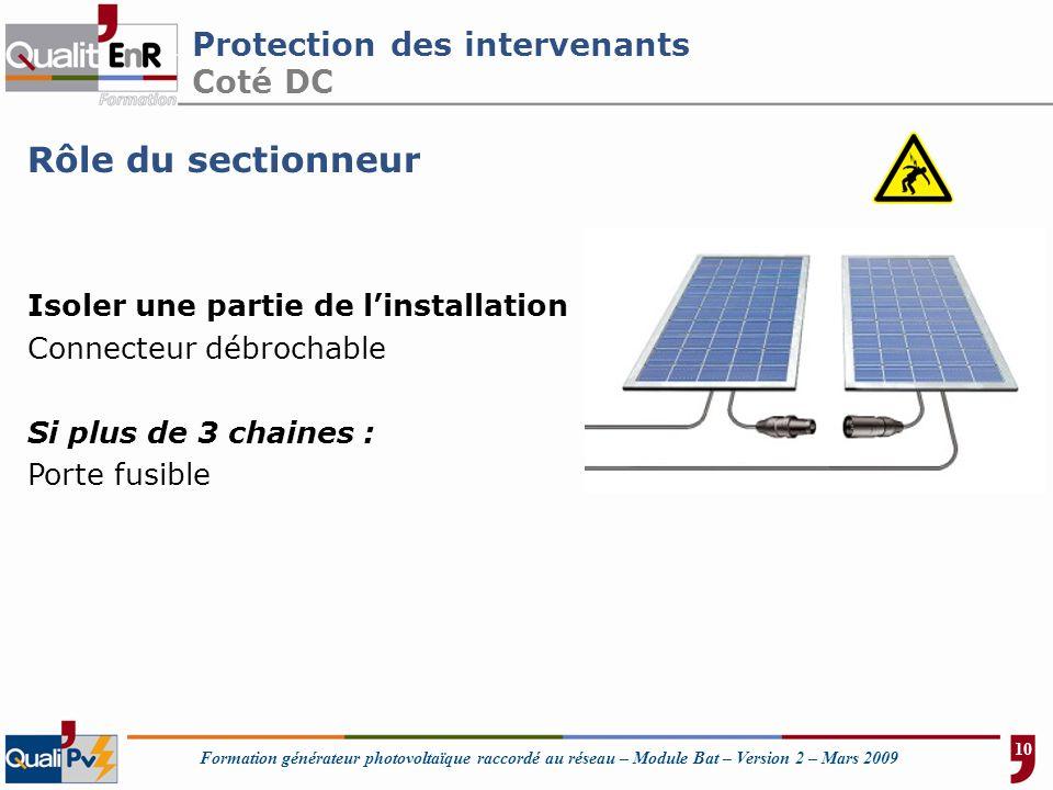Formation générateur photovoltaïque raccordé au réseau – Module Bat – Version 2 – Mars 2009 Protection des intervenants Coté DC Rôle du sectionneur Is