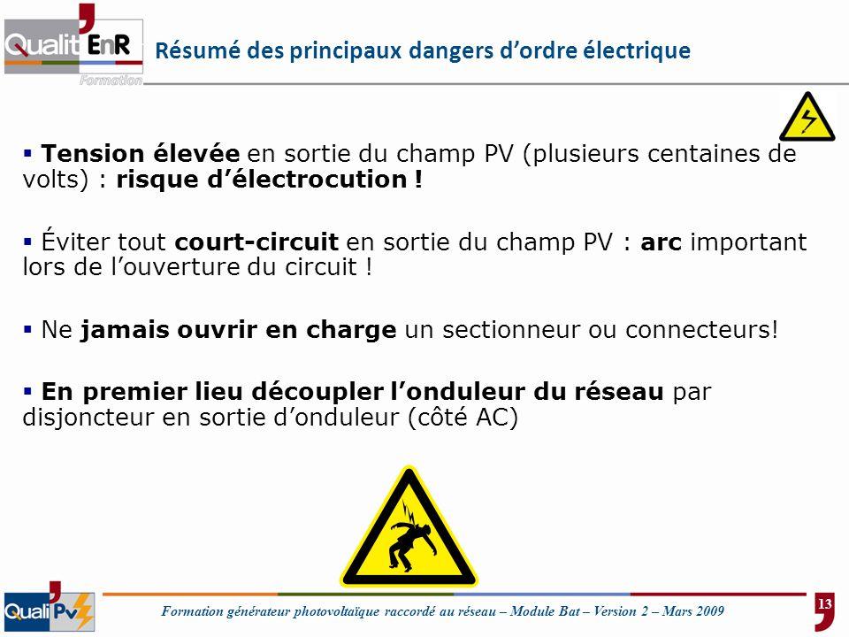 Formation générateur photovoltaïque raccordé au réseau – Module Bat – Version 2 – Mars 2009 Résumé des principaux dangers dordre électrique Tension él