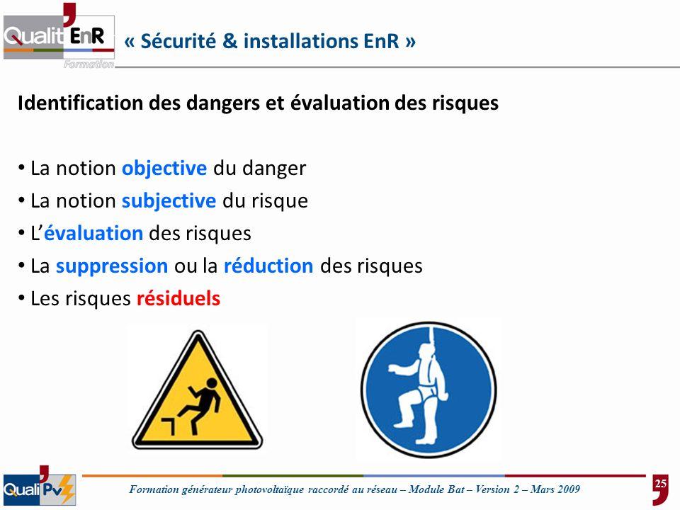 Formation générateur photovoltaïque raccordé au réseau – Module Bat – Version 2 – Mars 2009 « Sécurité & installations EnR » Identification des danger