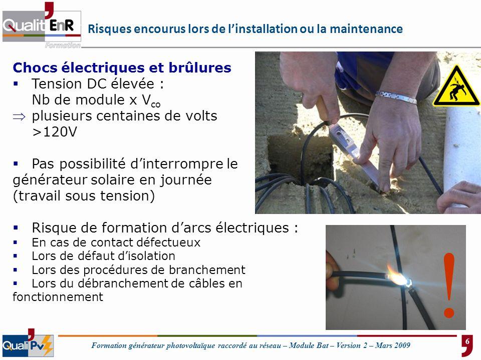 Formation générateur photovoltaïque raccordé au réseau – Module Bat – Version 2 – Mars 2009 Risques encourus lors de linstallation ou la maintenance C