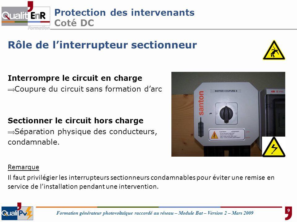 Formation générateur photovoltaïque raccordé au réseau – Module Bat – Version 2 – Mars 2009 Protection des intervenants Coté DC Rôle de linterrupteur