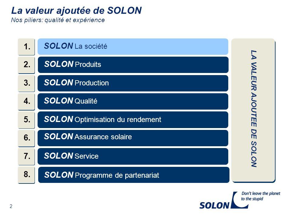 43 SOLON – Produits - Vos avantages en un coup dœil - Une entreprise innovante et avec de hautes performances Une large gamme de produits pour satisfaire les besoins de tous nos clients.