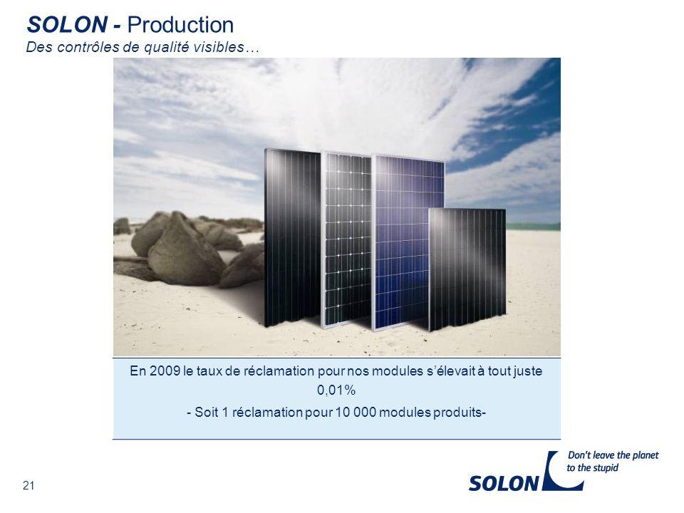 21 En 2009 le taux de réclamation pour nos modules sélevait à tout juste 0,01% - Soit 1 réclamation pour 10 000 modules produits- SOLON - Production Des contrôles de qualité visibles…