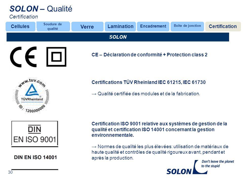 30 Glas SOLON CE – Déclaration de conformité + Protection class 2 Certification ISO 9001 relative aux systèmes de gestion de la qualité et certification ISO 14001 concernant la gestion environnementale.