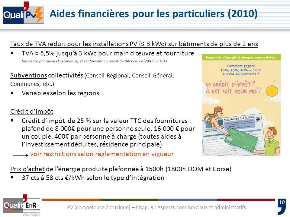 10 Aides financières pour les particuliers (2010) Subventions collectivités (Conseil Régional, Conseil Général, Communes, etc.) Variables selon les ré