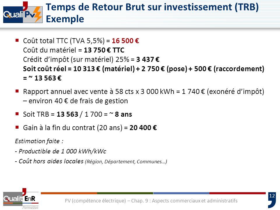 12 PV (compétence électrique) – Chap. 9 : Aspects commerciaux et administratifs Temps de Retour Brut sur investissement (TRB) Exemple Coût total TTC (
