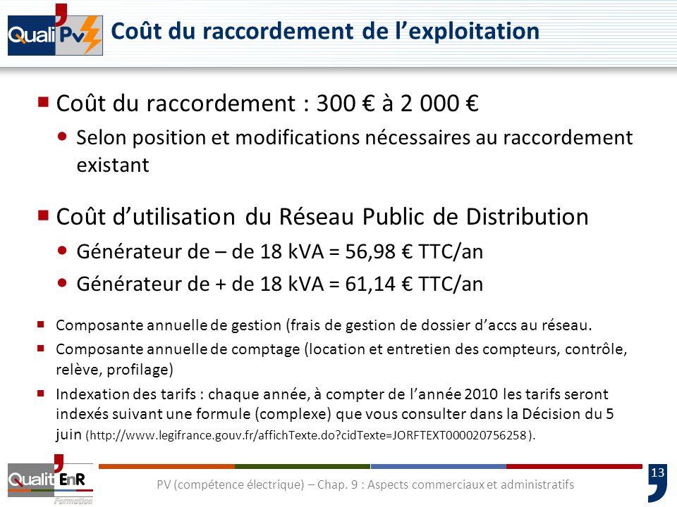 13 Coût du raccordement de lexploitation Coût du raccordement : 300 à 2 000 Selon position et modifications nécessaires au raccordement existant Coût