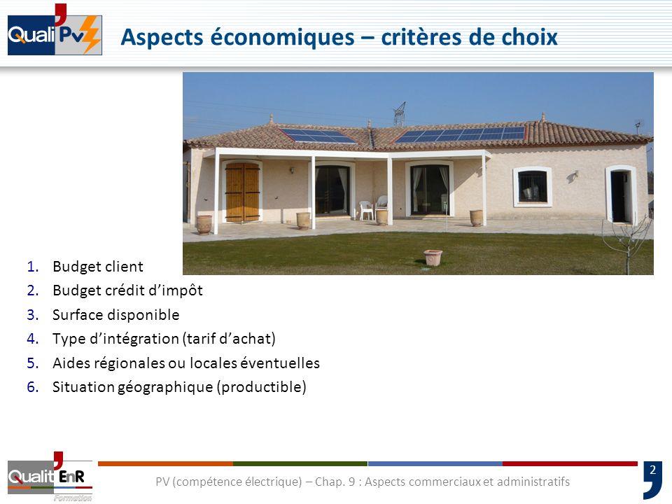 2 Aspects économiques – critères de choix 1.Budget client 2.Budget crédit dimpôt 3.Surface disponible 4.Type dintégration (tarif dachat) 5.Aides régio