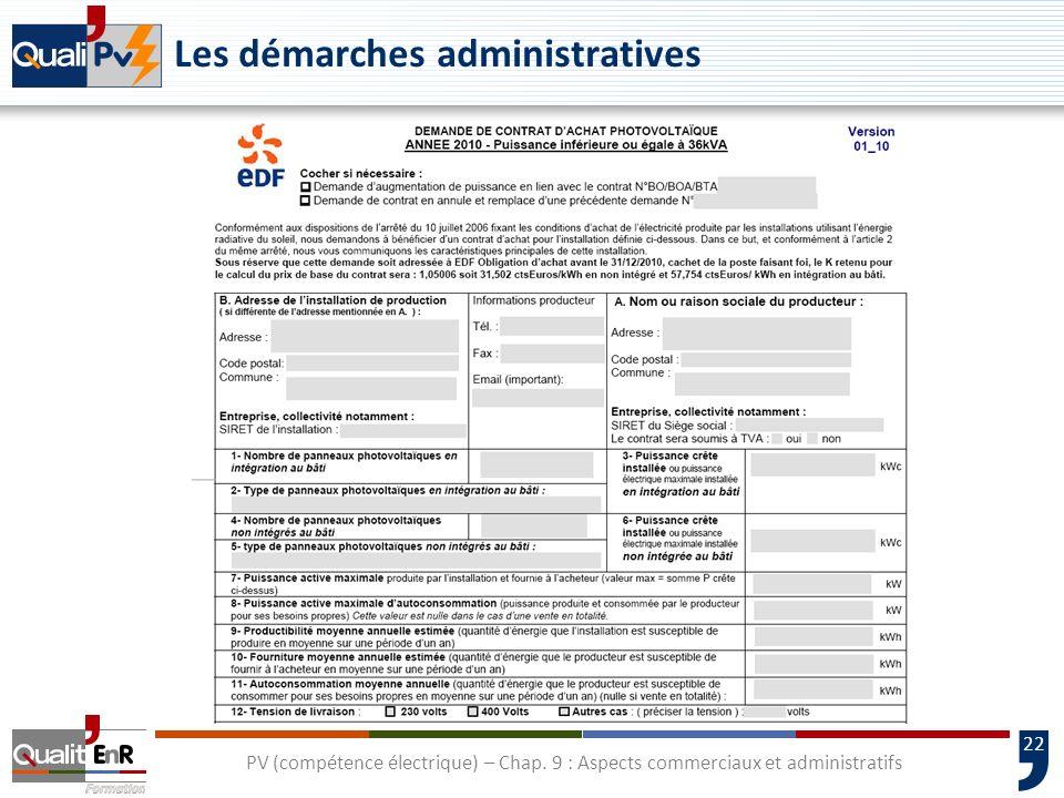 22 Les démarches administratives PV (compétence électrique) – Chap. 9 : Aspects commerciaux et administratifs