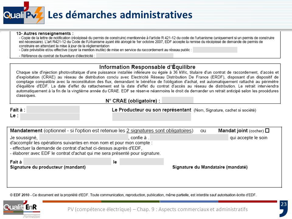 23 Les démarches administratives PV (compétence électrique) – Chap. 9 : Aspects commerciaux et administratifs