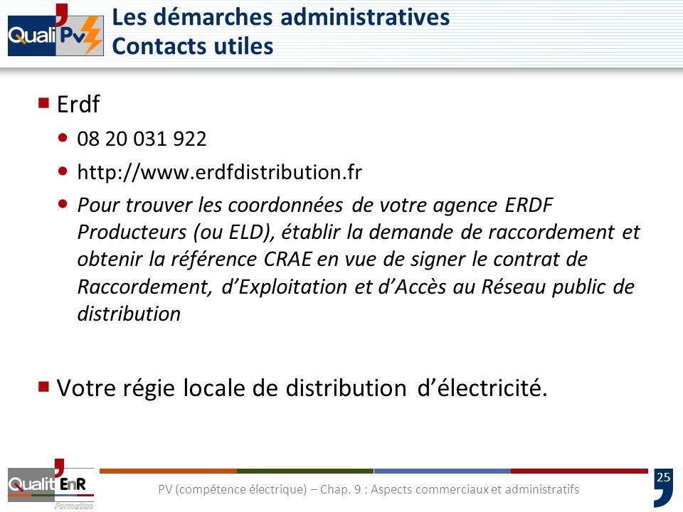 25 Les démarches administratives Contacts utiles Erdf 08 20 031 922 http://www.erdfdistribution.fr Pour trouver les coordonnées de votre agence ERDF P