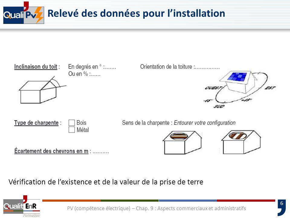 6 PV (compétence électrique) – Chap. 9 : Aspects commerciaux et administratifs Vérification de lexistence et de la valeur de la prise de terre Relevé