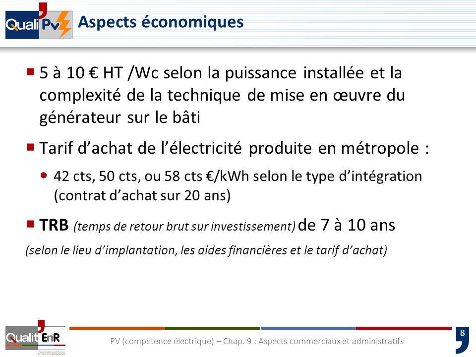 8 Aspects économiques 5 à 10 HT /Wc selon la puissance installée et la complexité de la technique de mise en œuvre du générateur sur le bâti Tarif dac
