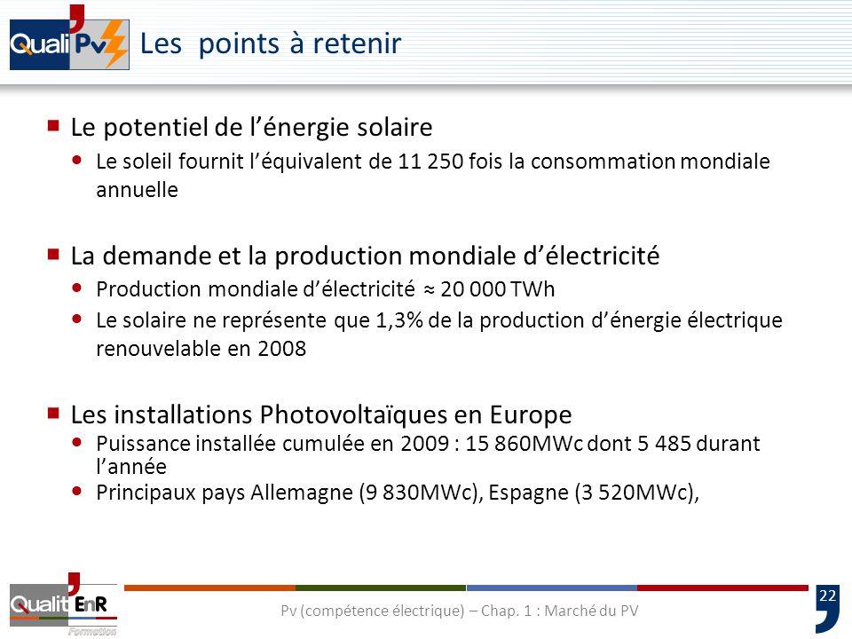 23 Les points à retenir Le marché photovoltaïque français Puissance installée en 2009 : environ 200MWc (soit parc total de 269MWc fin 2009) Plus de 90% de parc installé en métropole sont des installations de moins de 3kWc La production des cellules 2009 : 4 400MWc de production mondiale de cellules Coût de production des modules : environ 2 /Wc Principaux pays producteurs : Chine 38%, Japon 12%, Taïwan 12%, Europe 20% Evolution prévisible des prix de lélectricité : En 2015 le coût de production du kWh photovoltaïque sera égal au coût de production aux heures de pointes et en 2020 à toute heure Pv (compétence électrique) – Chap.