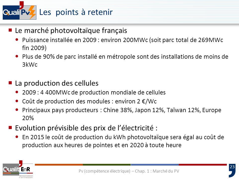 23 Les points à retenir Le marché photovoltaïque français Puissance installée en 2009 : environ 200MWc (soit parc total de 269MWc fin 2009) Plus de 90