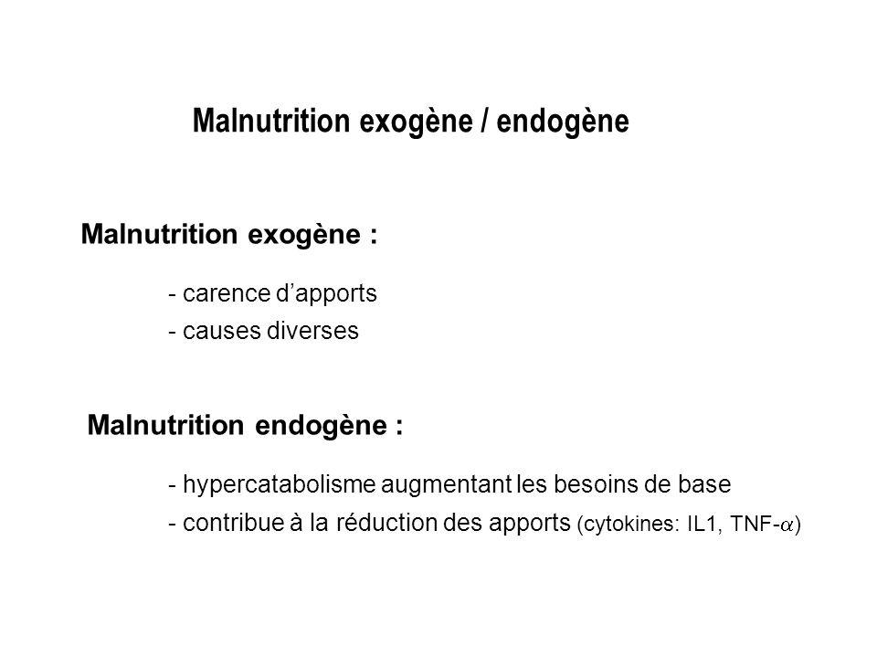 Limites de LIMC - ne reflète pas les modifications respectives de la MM et de la MG - influencé par létat dhydratation (oedèmes, ascite, …) - possibilité de maigreur constitutionnelle et non de dénutrition quand IMC entre 16,0 et 18,5 - données non extrapolables au sujet âgé