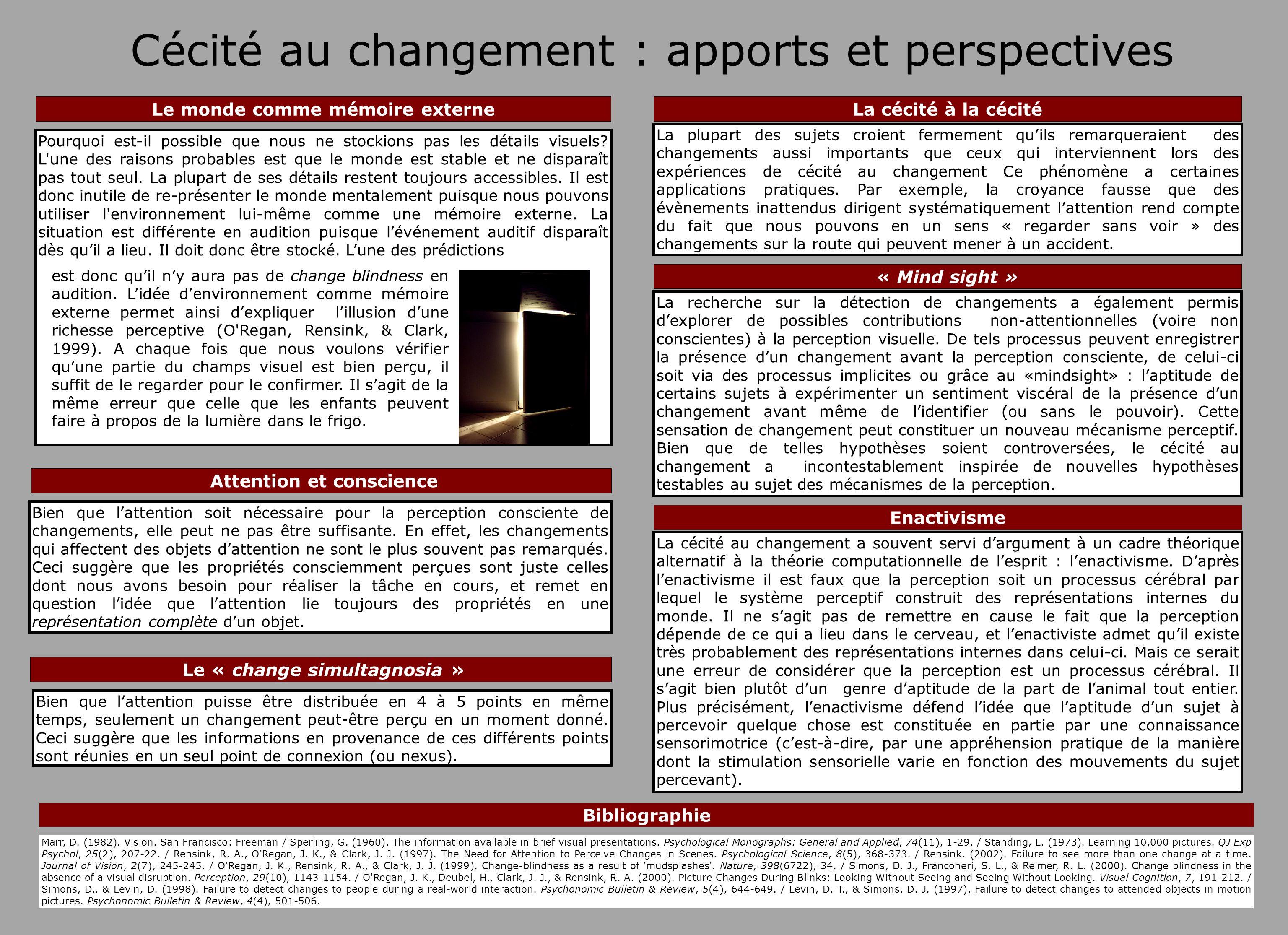 Cécité au changement : apports et perspectives La recherche sur la détection de changements a également permis dexplorer de possibles contributions no