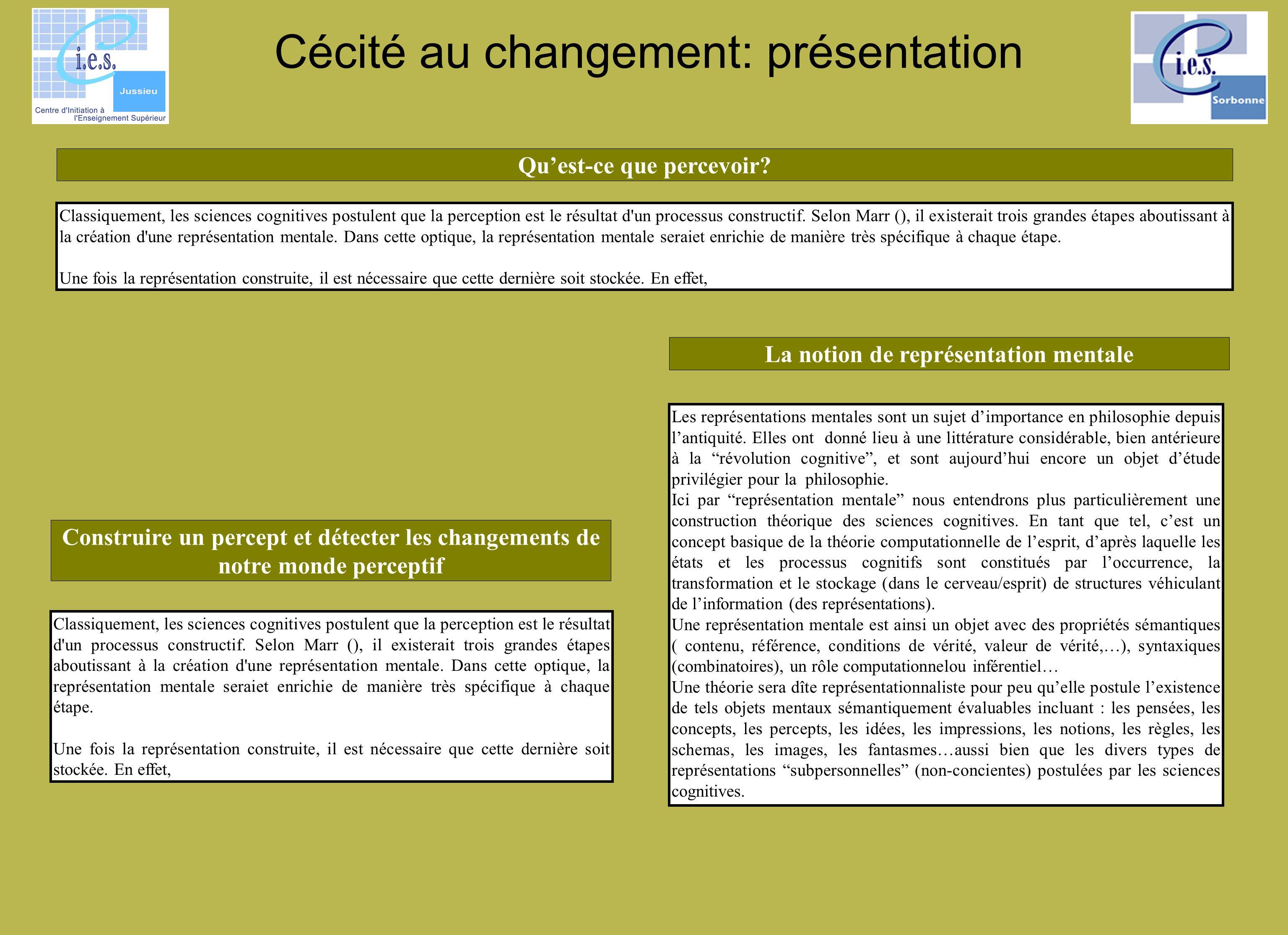 Cécité au changement: présentation Classiquement, les sciences cognitives postulent que la perception est le résultat d'un processus constructif. Selo